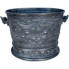 Art Nouveau Ice Bucket in Peltro, Rich Decoration, 19th Century, Italy