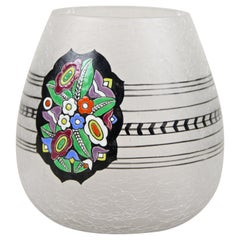 Art Nouveau Ice Glass Vase Attributed to Emanuel J. Mergold, Austria, circa 1915