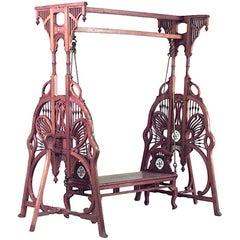 Art Nouveau 'Indian Style' Carved Teak Wood Filigree Swing