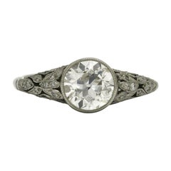 Art Nouveau Inspired Antique Old Mine Diamond Engagement Ring 1 1/2 Carat Floral