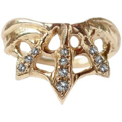 Art Nouveau Inspired Web Ring in 14 Karat Gold with Diamonds