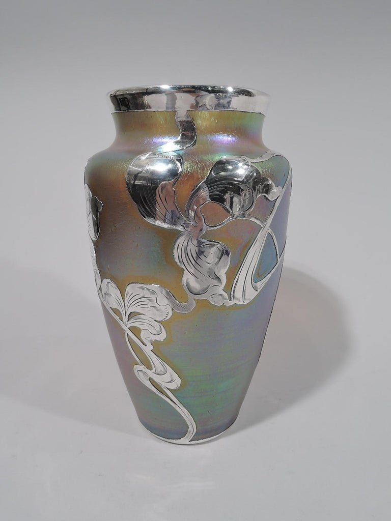 Czech Art Nouveau Iridescent and Silver Overlay Glass Vase by Historic Loetz For Sale