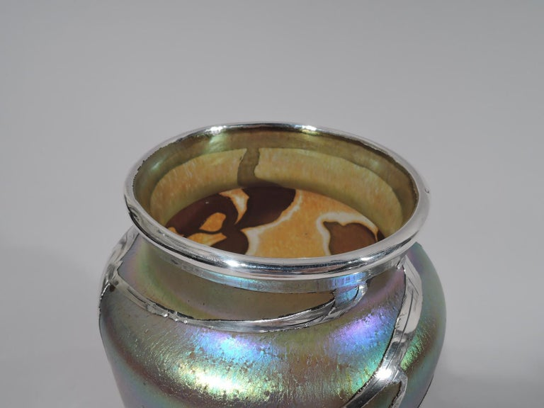 20th Century Art Nouveau Iridescent and Silver Overlay Glass Vase by Historic Loetz For Sale