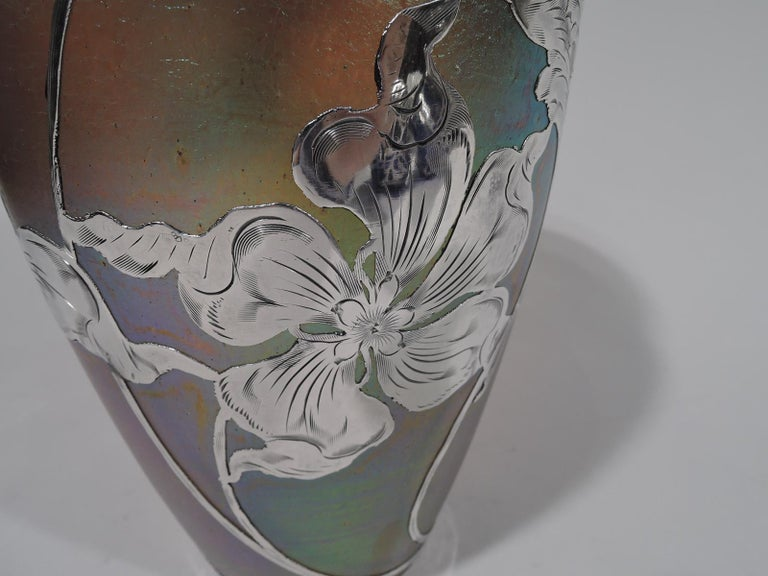 Art Nouveau Iridescent and Silver Overlay Glass Vase by Historic Loetz For Sale 3