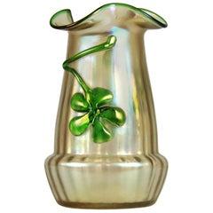 Art Nouveau Iridescent Glass, Bohemian Vase from Wilhelm Kralik Sohn