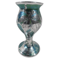 Art Nouveau Iridescent Green and Blue Glass Vase with Silver Overlay