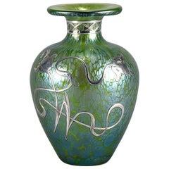 Art Nouveau Iridescent Silvered Glass Vase by Johann Loetz