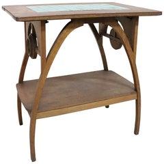 Art Nouveau Italian Oakwood Side Table with Ceramic Top