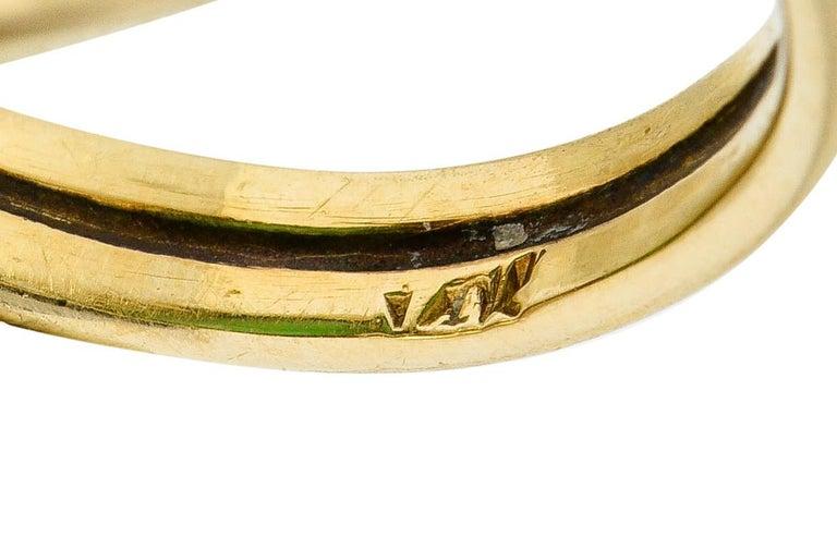 Art Nouveau Jadeite Jade Cabochon 14 Karat Gold Band Ring 6