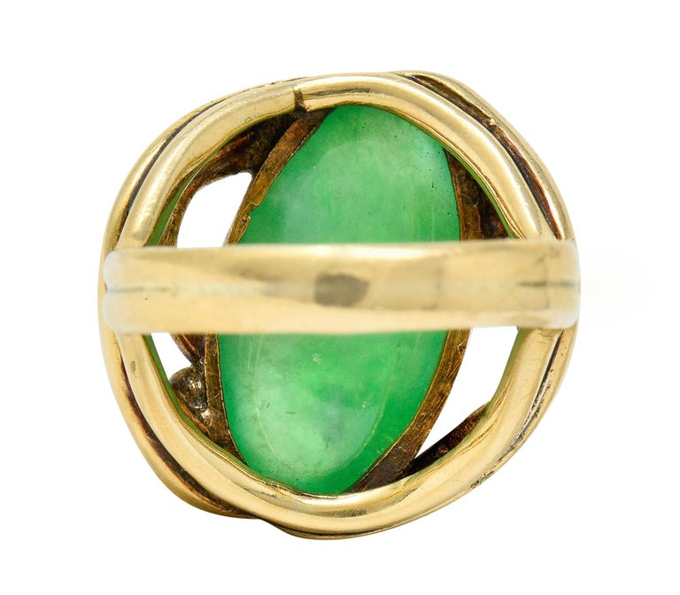 Women's or Men's Art Nouveau Jadeite Jade Cabochon 14 Karat Gold Band Ring