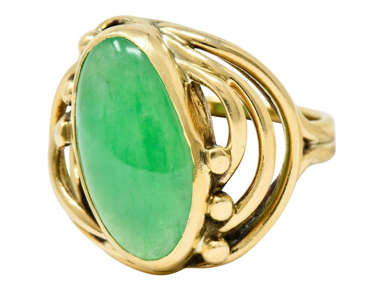 Art Nouveau Jadeite Jade Cabochon 14 Karat Gold Band Ring 2