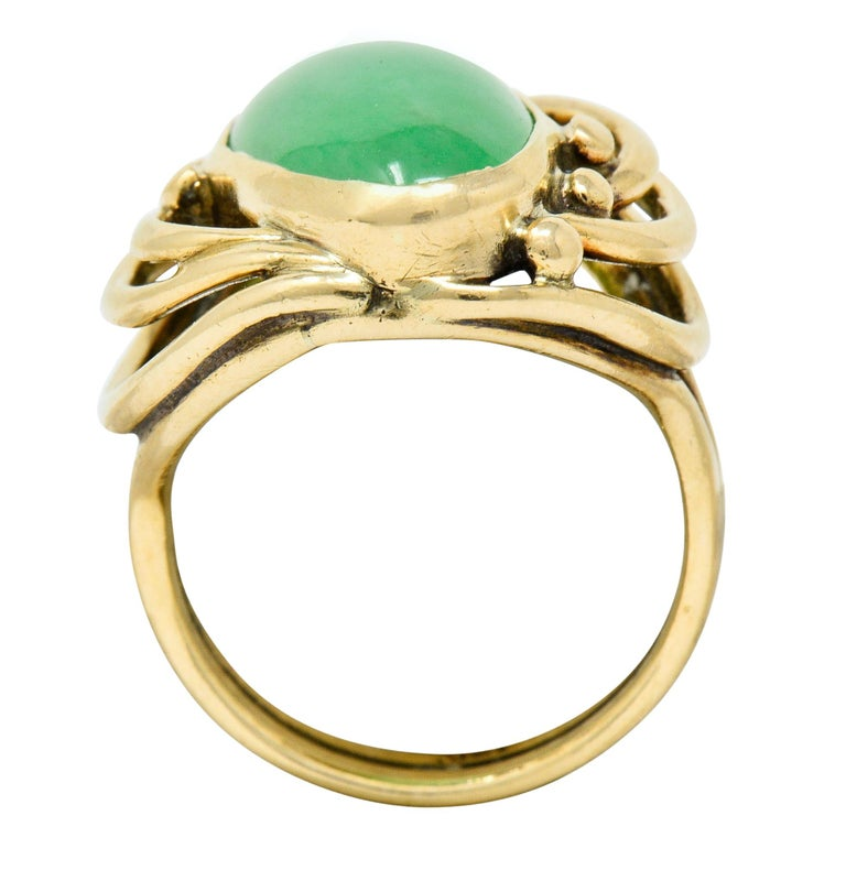 Art Nouveau Jadeite Jade Cabochon 14 Karat Gold Band Ring 3