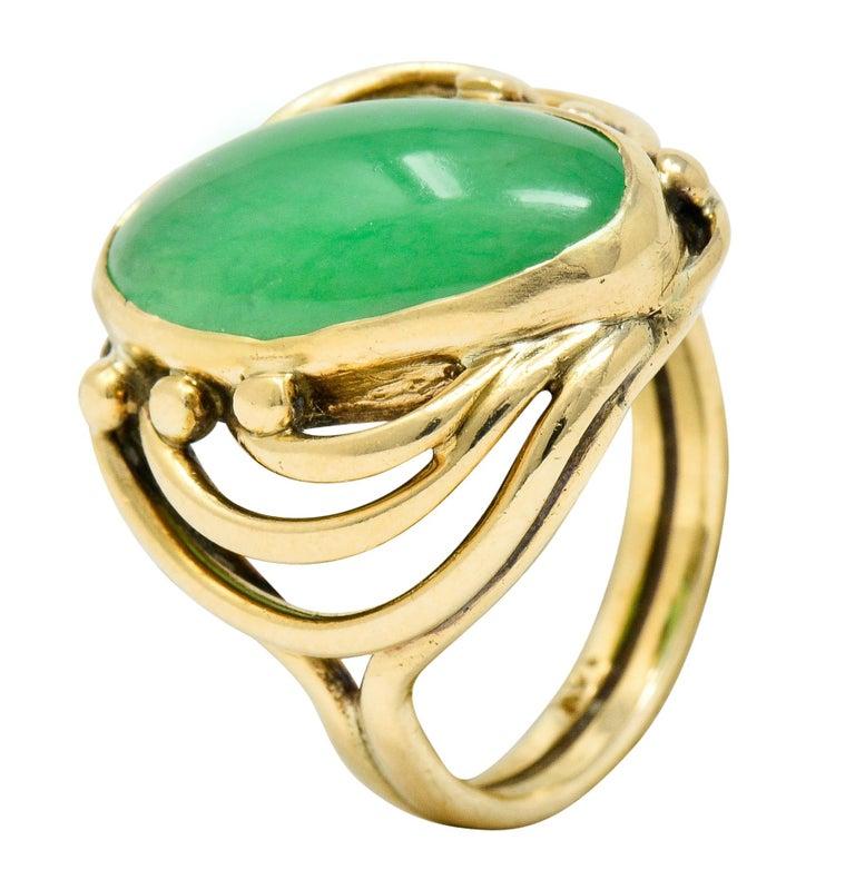 Art Nouveau Jadeite Jade Cabochon 14 Karat Gold Band Ring 5