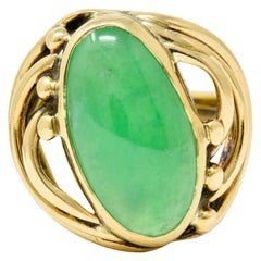 Art Nouveau Jade Cabochon 14 Karat Gold Band Ring