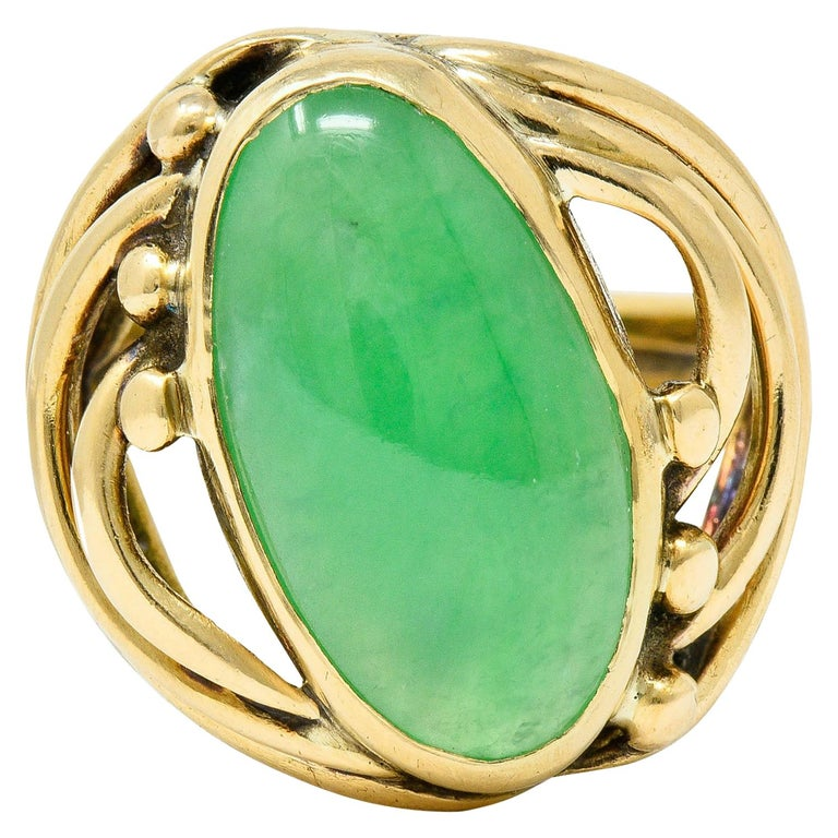 Art Nouveau Jadeite Jade Cabochon 14 Karat Gold Band Ring