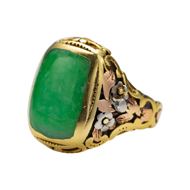 Art Nouveau Jade Ring Certified Untreated