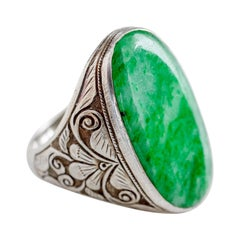 Art Nouveau Jade Ring from China in Silver Certified Untreated