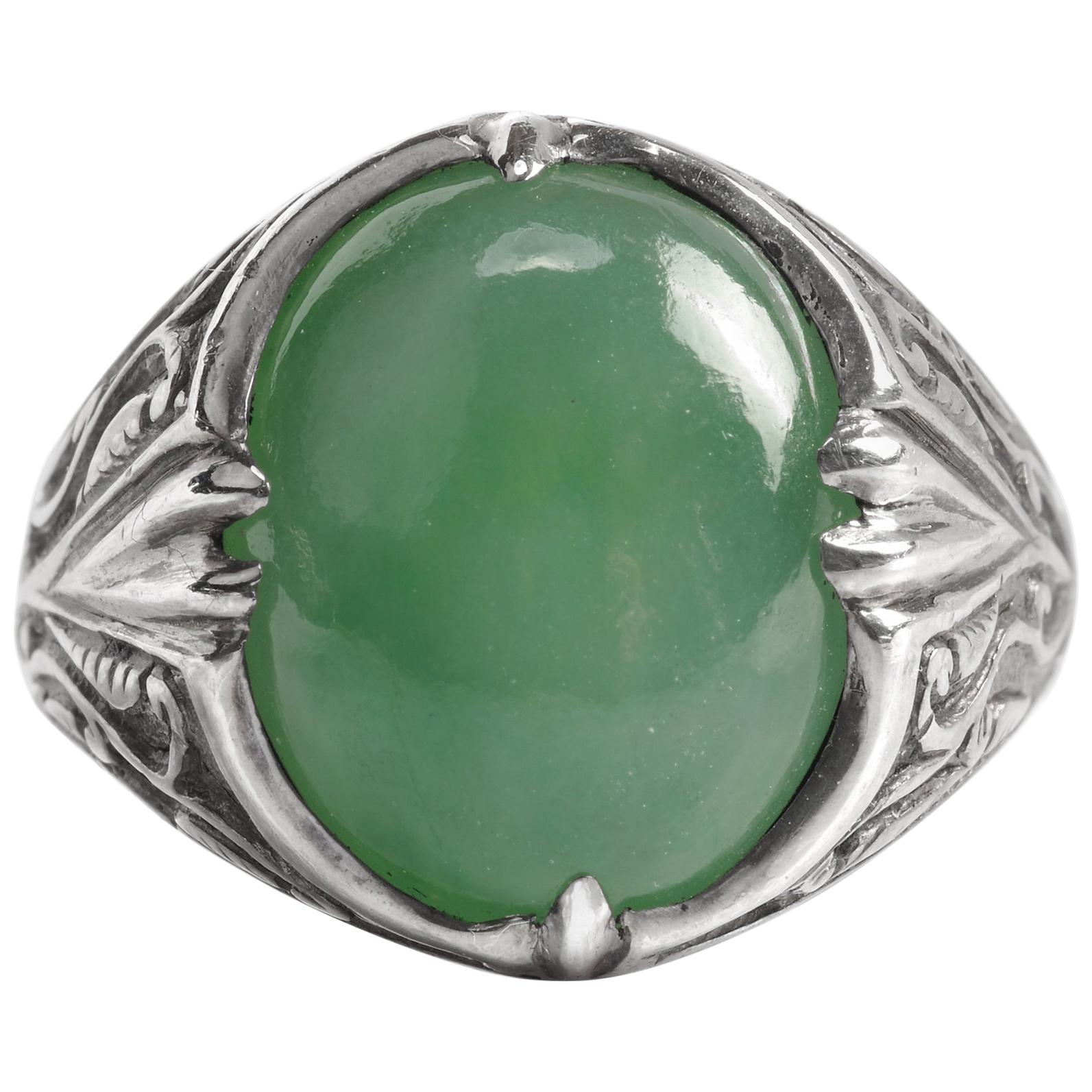 Art Nouveau Jade Ring in Silver Certified Untreated