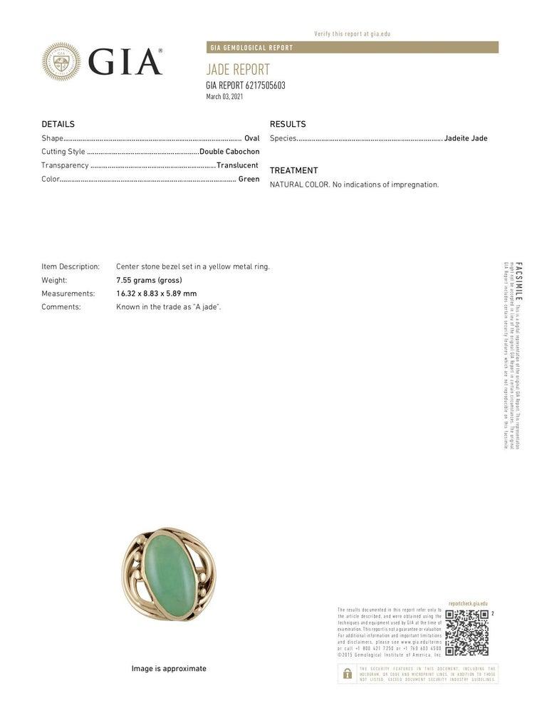 Art Nouveau Jadeite Jade Cabochon 14 Karat Gold Band Ring 7