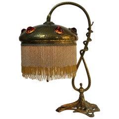 Art Nouveau Jeweled Snake Lamp