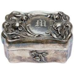 Art Nouveau Jewelry Box Silver Plate