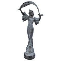 Art Nouveau Lady Lamp Stella Spelter Original Signed a Nelson