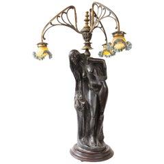 Art Nouveau, Lalique Style Monumental Lamp, Figural Lamp, Brass, Wood, Glass