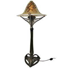 Art Nouveau Lamp, Art Glass Shade, Bronze Casting, after Louis Majorelle