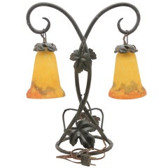 Art Nouveau Lamp in Wrought Iron with Glass Shades by G.V. de Croismarre