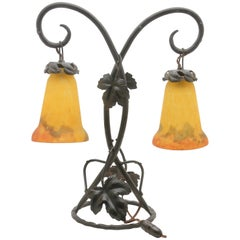 Art Nouveau Lamp in Wrought Iron with Glass Shades Signed by G.V. de Croismarre