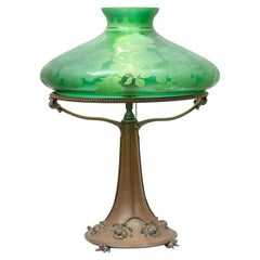Art Nouveau Lamp with Green Etched Floral Shade and Bronze Base with 4 Frogs
