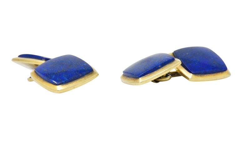 Art Nouveau Lapis Lazuli 14 Karat Gold Men's Cufflinks In Excellent Condition For Sale In Philadelphia, PA