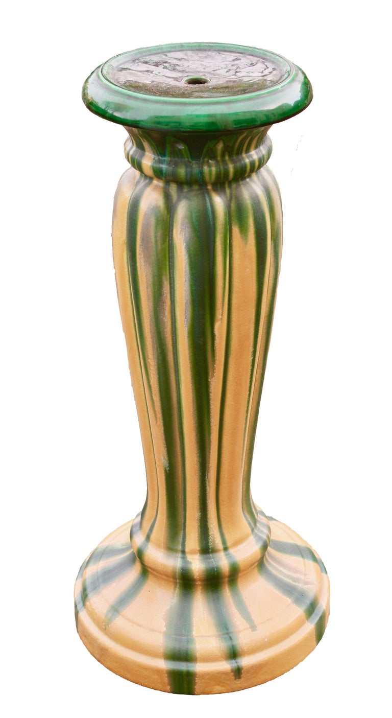 Mid-20th Century Art Nouveau Large Ceramic Jardinière on Stand, Belgium, Excellent Condition For Sale