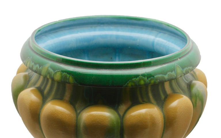 Majolica Art Nouveau Large Ceramic Jardinière on Stand, Belgium, Excellent Condition For Sale