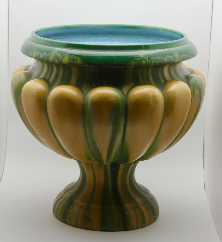 Art Nouveau Large Ceramic Jardinière on Stand, Belgium, Excellent Condition For Sale 2