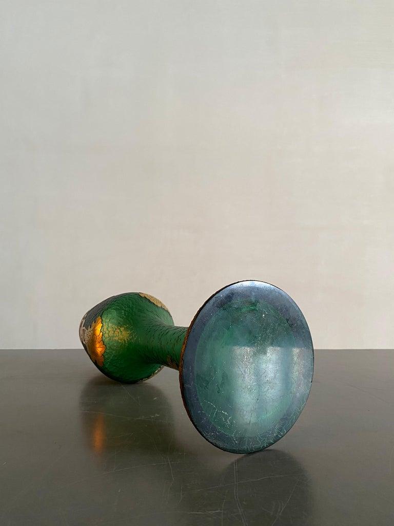 Art Nouveau Legras French Gilt Decorative Art Glass Vase in Gobert Form For Sale 1