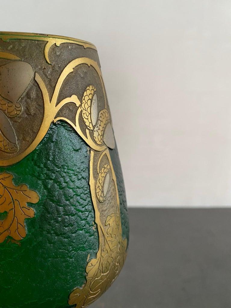 Art Nouveau Legras French Gilt Decorative Art Glass Vase in Gobert Form For Sale 2