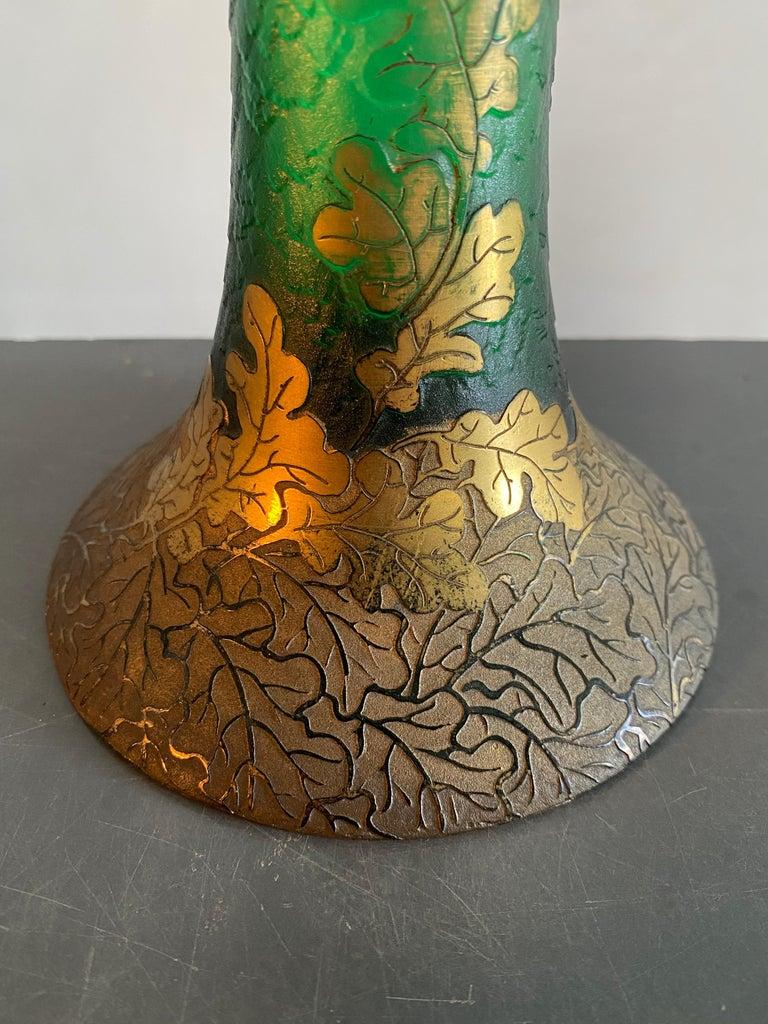 Art Nouveau Legras French Gilt Decorative Art Glass Vase in Gobert Form For Sale 3