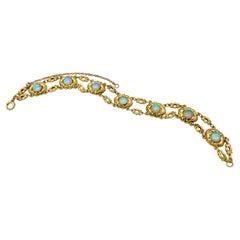 Art Nouveau Link Bracelet Opal 14 Karat Golf