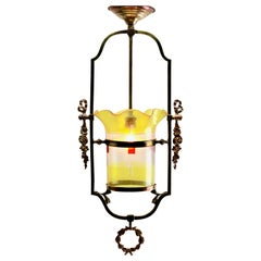 Art Nouveau Lobby Lantern in the with Brass Frame and Glass Shade
