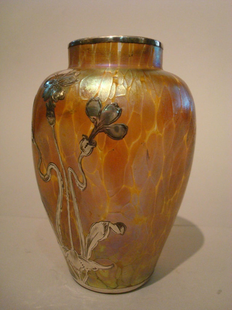 20th Century Art Nouveau Loetz Iridescent Glass Vase with Silver Overlay For Sale