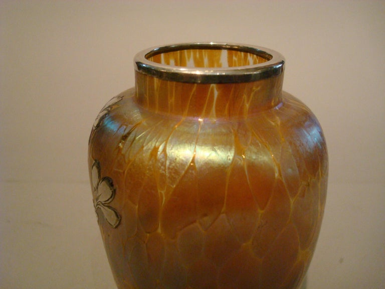 Art Nouveau Loetz Iridescent Glass Vase with Silver Overlay For Sale 3