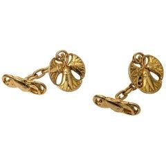 Art Nouveau Lotus Flower Gold Cufflinks France