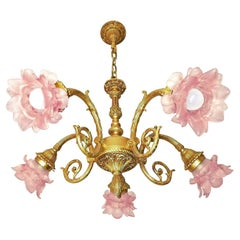 Art Nouveau Louis XV Ornate Solid Gilt Bronze & Pink Art Glass Flower Chandelier