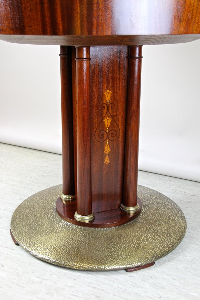 Art Nouveau Mahogany Gaming Table with Hammered Brass Base, Austria, circa 1910 For Sale 4