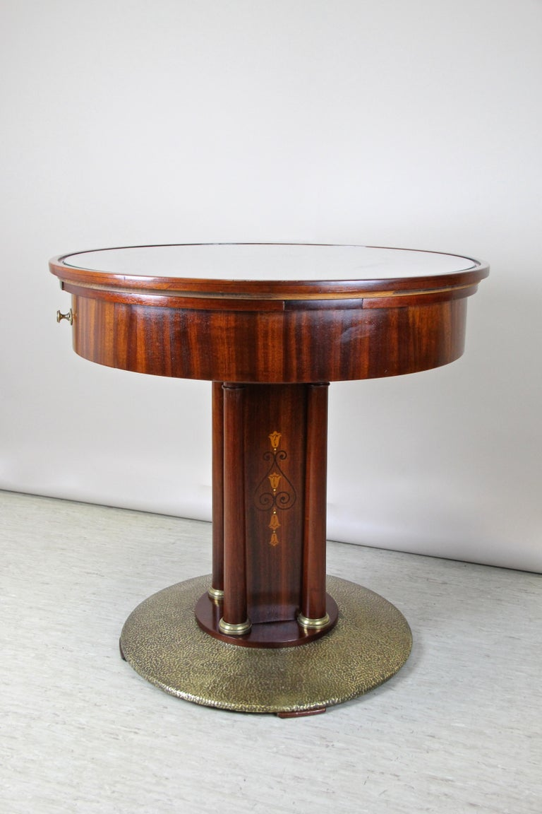 Art Nouveau Mahogany Gaming Table with Hammered Brass Base, Austria, circa 1910 For Sale 6