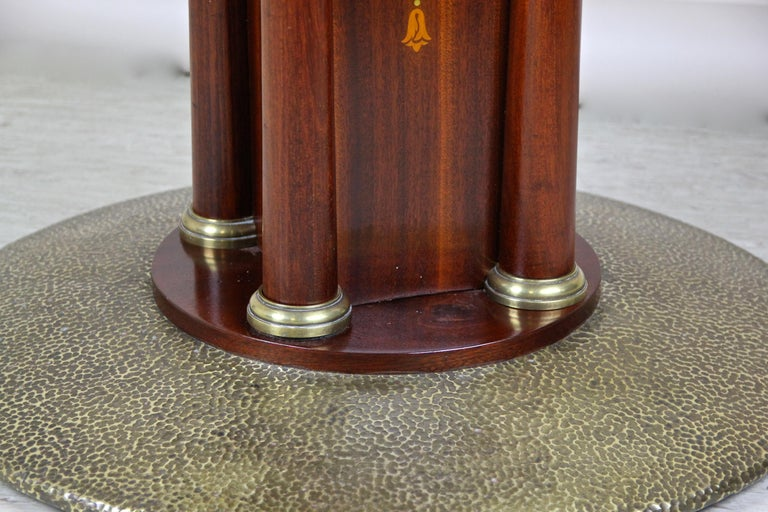 Art Nouveau Mahogany Gaming Table with Hammered Brass Base, Austria, circa 1910 For Sale 7