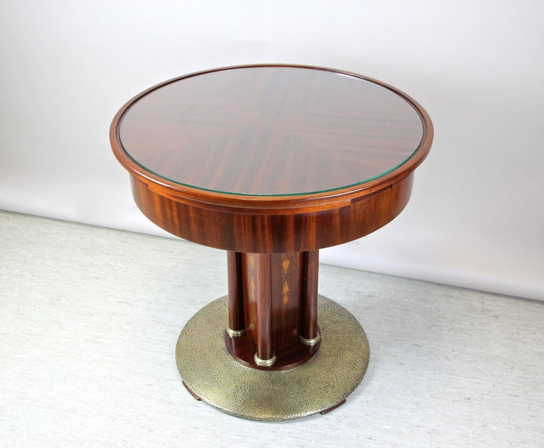 Austrian Art Nouveau Mahogany Gaming Table with Hammered Brass Base, Austria, circa 1910 For Sale