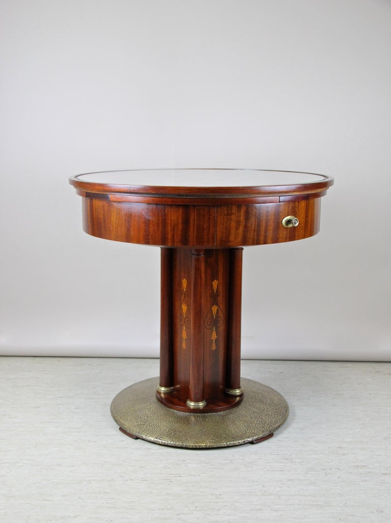 20th Century Art Nouveau Mahogany Gaming Table with Hammered Brass Base, Austria, circa 1910 For Sale