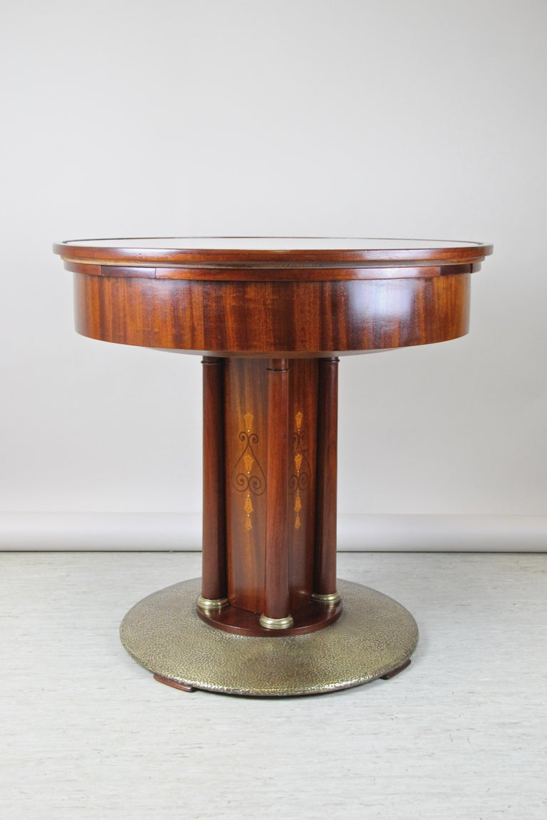 Art Nouveau Mahogany Gaming Table with Hammered Brass Base, Austria, circa 1910 For Sale 2